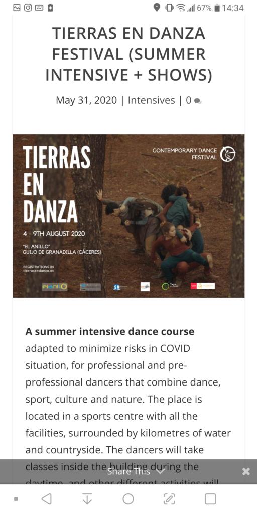 Dancing opportunities Tierras en Danza Sinergos