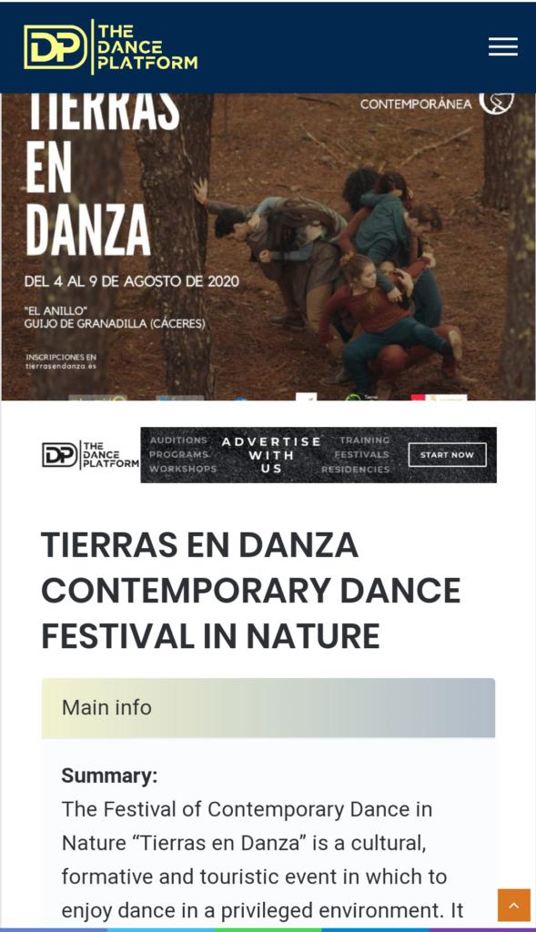 The dance platform Tierras en Danza Sinergos